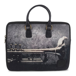 THE SAXOPHONE TOPHANDLE BLACK Printed laptop bag