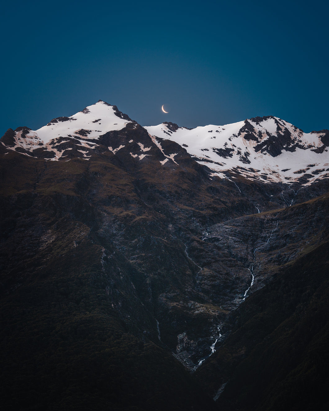Moon over Mountains in New Zealand buy landscape print