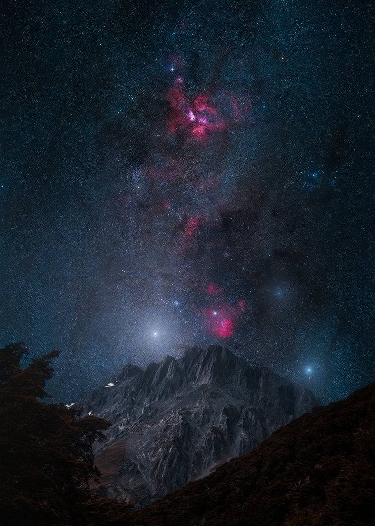 nebula in new zealand above a mountain prints for your wall