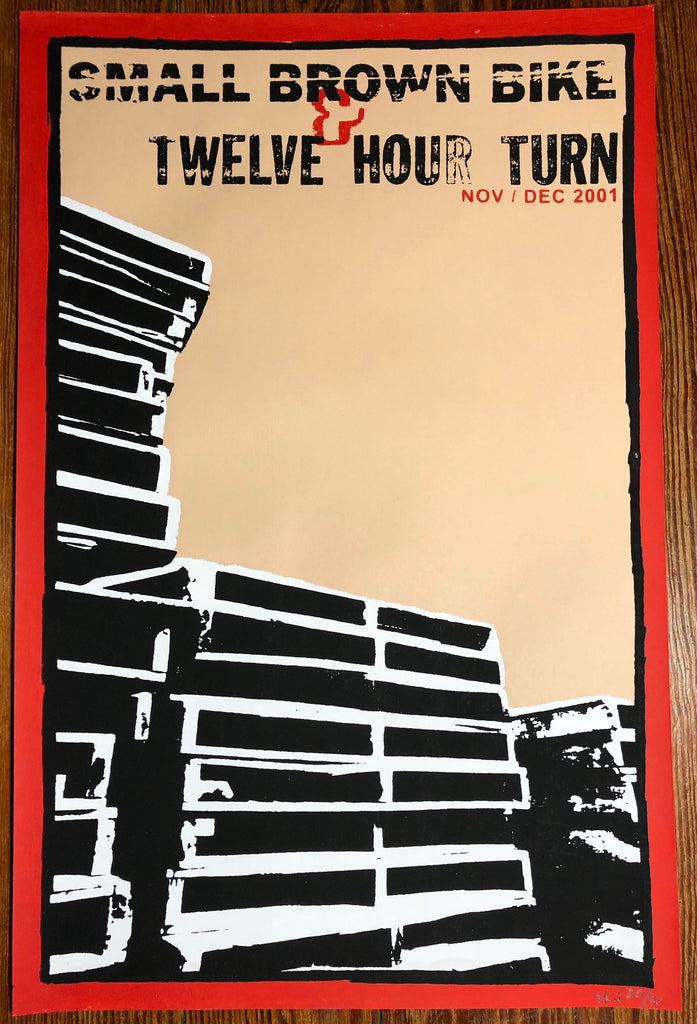 SMALL BROWN BIKE & TWELVE HOUR TURN Screenprinted Poster (2001)