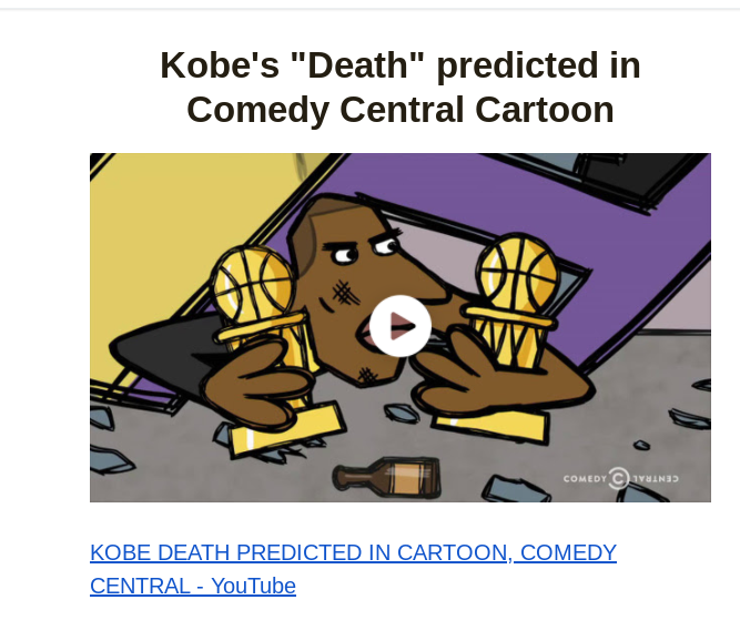 WAS KOBE'S DEATH BY HELICOPTER CRASH PREDICTED ON COMEDY CENTRAL?