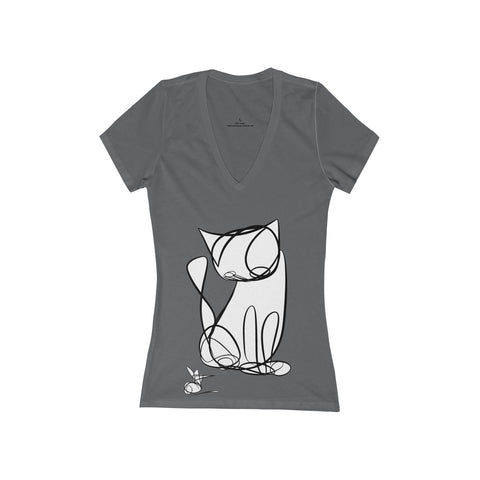 Unicursal Cat and Mouse Single Line Drawings by Tim Ozman, Women's Jersey Short Sleeve Deep V-Neck Tee