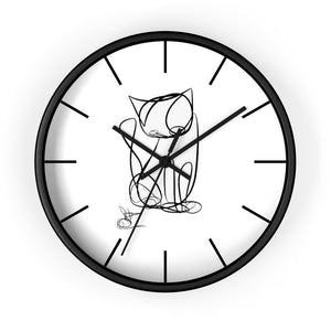 Cat Line Art Wall clock