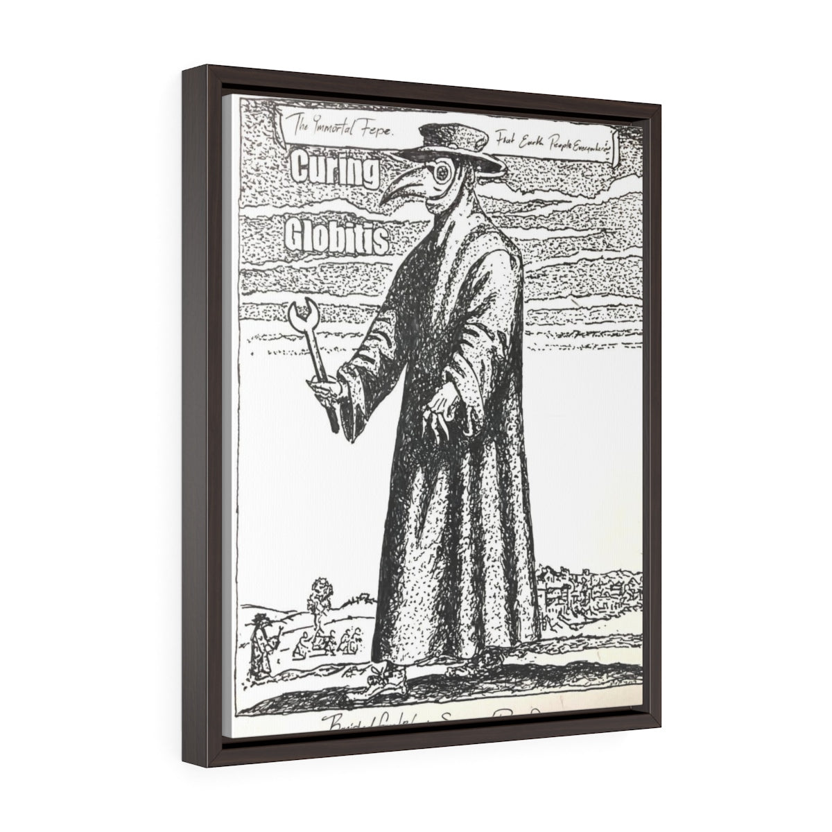 CURE FOR GLOBITIS/ Print of Marker Drawing by MVP_DaHardwareVandal/ Vertical Framed Premium Gallery Wrap Canvas