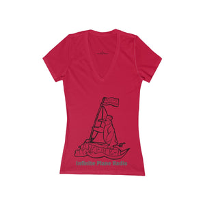 Infinite Plane Radio/ Women's Jersey Short Sleeve Deep V-Neck Tee
