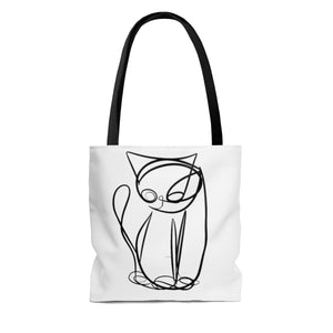 Unicursal Cat Drawings,  by Tim Ozman, AOP Tote Bag