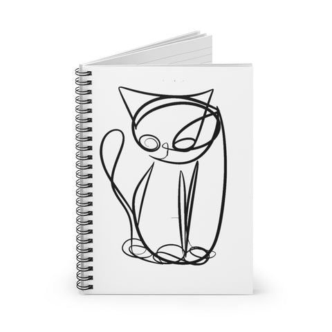 UNICURSAL CAT SKETCH/ Tim Ozman, Spiral Notebook - Ruled Line