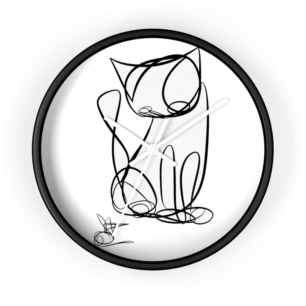 Unicursal Cat Sketch, One Line Drawing, Tim Ozman Wall clock