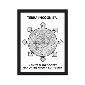 MAP OF THE KNOWN FLAT EARTH,  INFINITE PLANE SOCIETY FLAT EARTH MAP framed matte paper poster