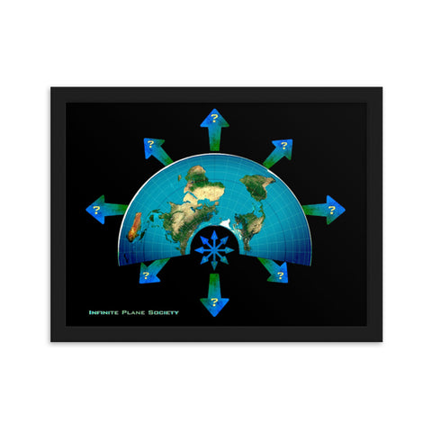 MAPS OF THE KNOWN FLAT EARTH, Framed matte paper poster