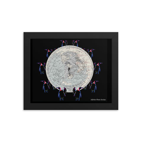 INFINITE PLANE SOCIETY MAP OF THE KNOWN FLAT EARTH, (pengiun design 1) Framed photo paper poster #NOEDGE