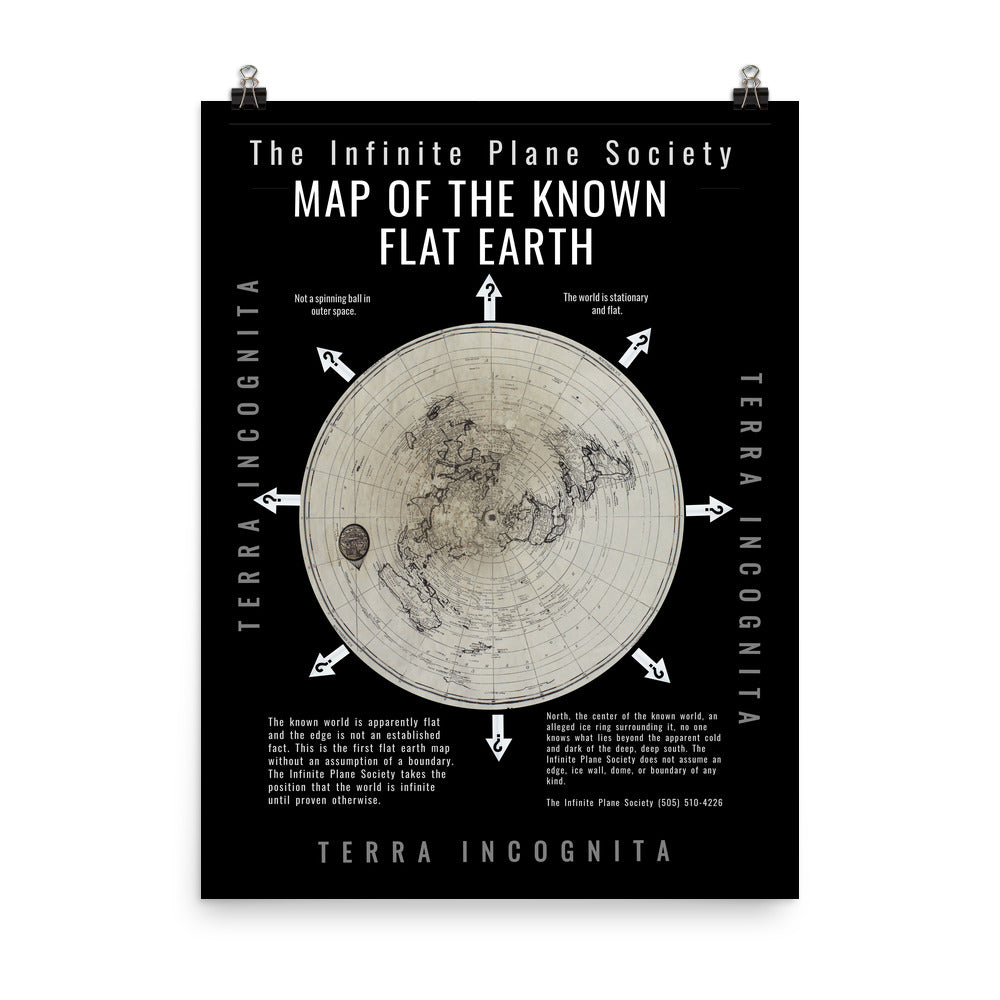 Infinite Plane Society MAP OF THE KNOWN FLAT EARTH, unframed poster
