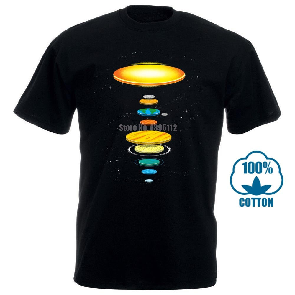 Flat Earth T Shirt Men'S Comedy T Shirts The Flat Solar System Custom Printed Tshirt Hip Hop Funny Tee Mens Tee Shirts