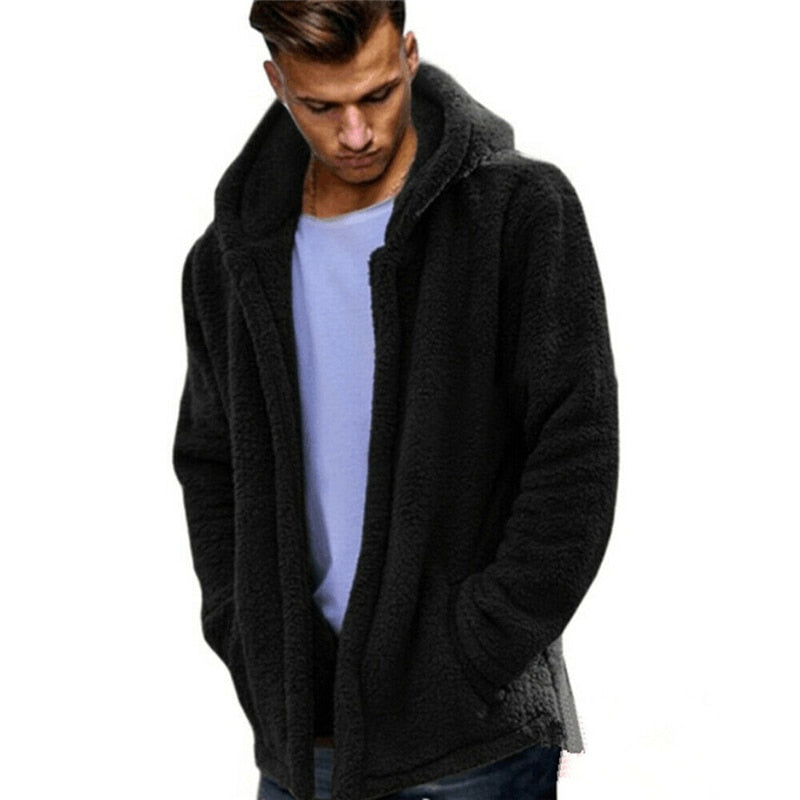Winter Warm Men Winter Thick Hoodies/  Fleece Fur Jacket Hooded Coat Outerwear Long Sleeve /Cardigans