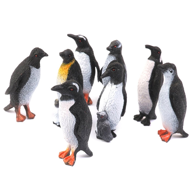 Plastic Penguins, 8pcs Black + White