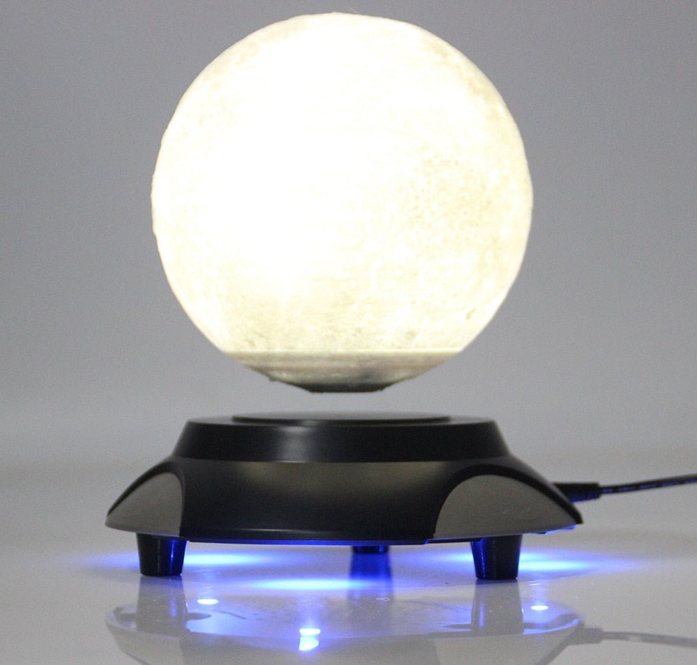 New strange gift Office Desk Decoration Magnetic Levitation 6 inch moon Globe circle ufo base  Floating Night Light