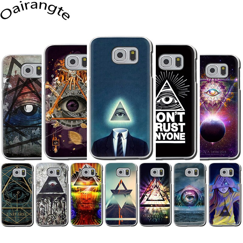 pyramid eye symbol illuminati Slim Hard phone case for Samsung Galaxy S6 S7 Edge S8 S9 S10 Plus S10e Note 8 9 M10 M20 M30