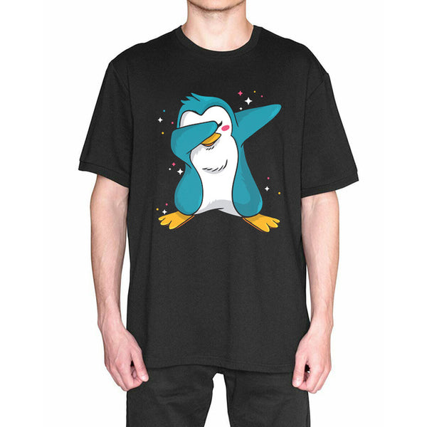 Funny Penguin Dabbing Men's Short Sleeve T Shirts Printing Plus Size Tees Good Quality Comfortable Tops Aesthetic