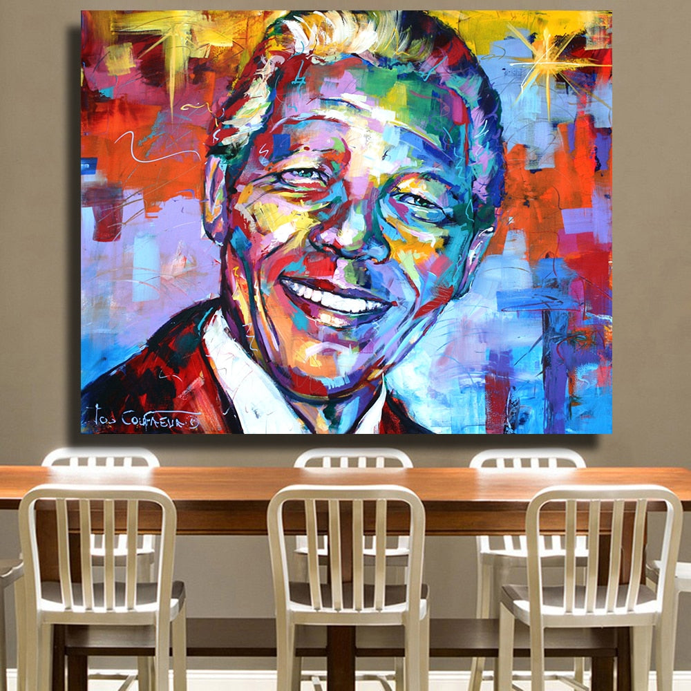 HDARTISAN Nelson Mandela Portrait  Oil Painting Acrylic on Canvas Art Prints for Living Room Home Decoration  No Framed