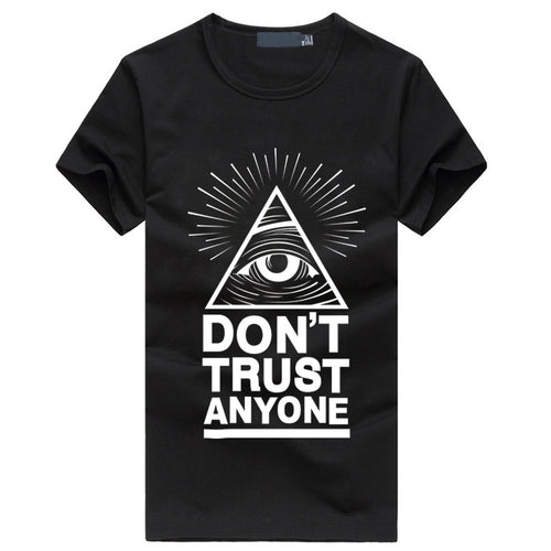 Don't Trust Anyone Illuminati All Seeing Eyes Men's T-Shirt fashion casual streetwear hiphop brand clothing fitness tshirt homme