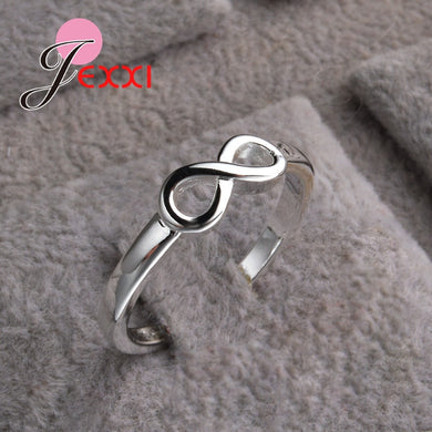 Silver Infinity Ring/  925 Sterling   Jewelry Fashion Engagement Anillos Bridal Wedding Finger Rings For Woman