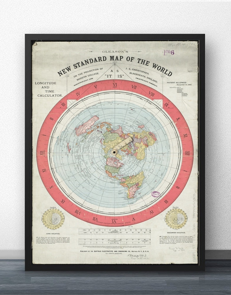 1892 Flat Earth Map Movie Wall Art Paint Wall Decor #flatearth