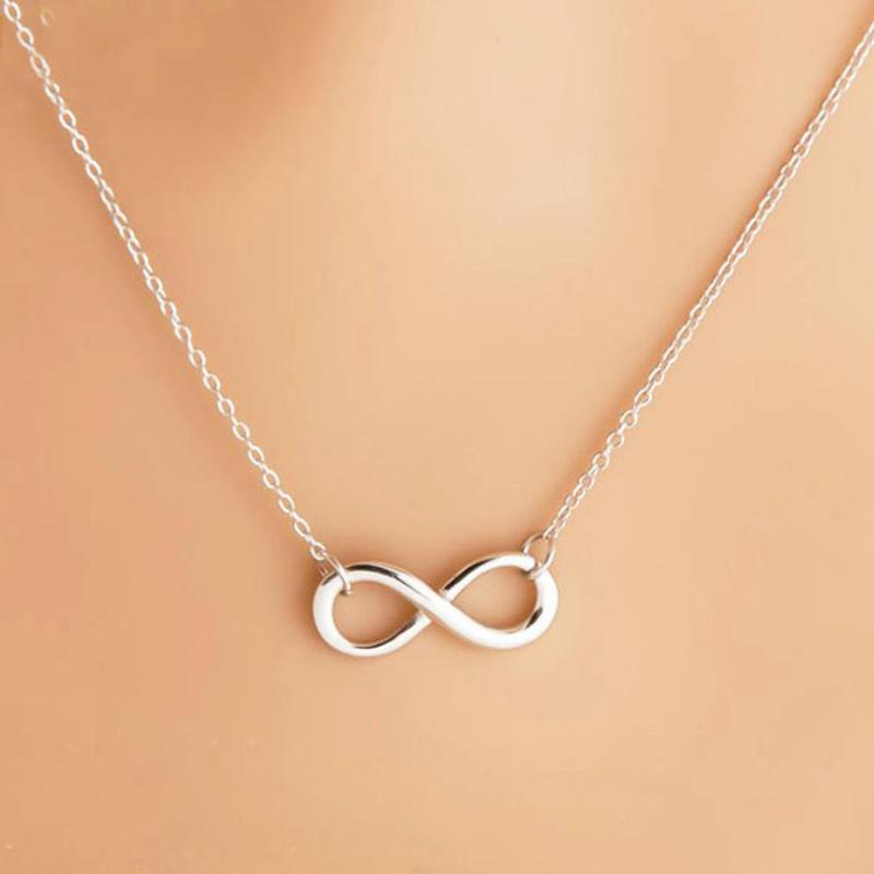Silver Infinity Figure 8 Necklace Pendant Hammered Link Necklaces Collier Gift Jewelry Bijoux