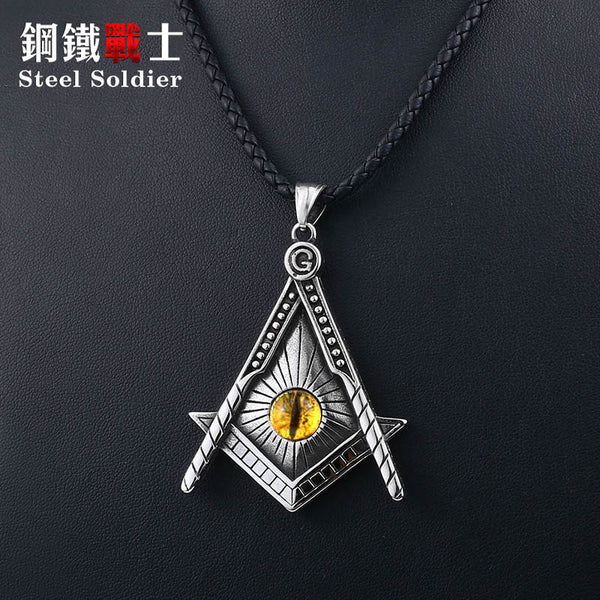Steel soldier free Mason pendant necklace yellow eye stainless steel punk illuminati men biker chain Gothic jewelry
