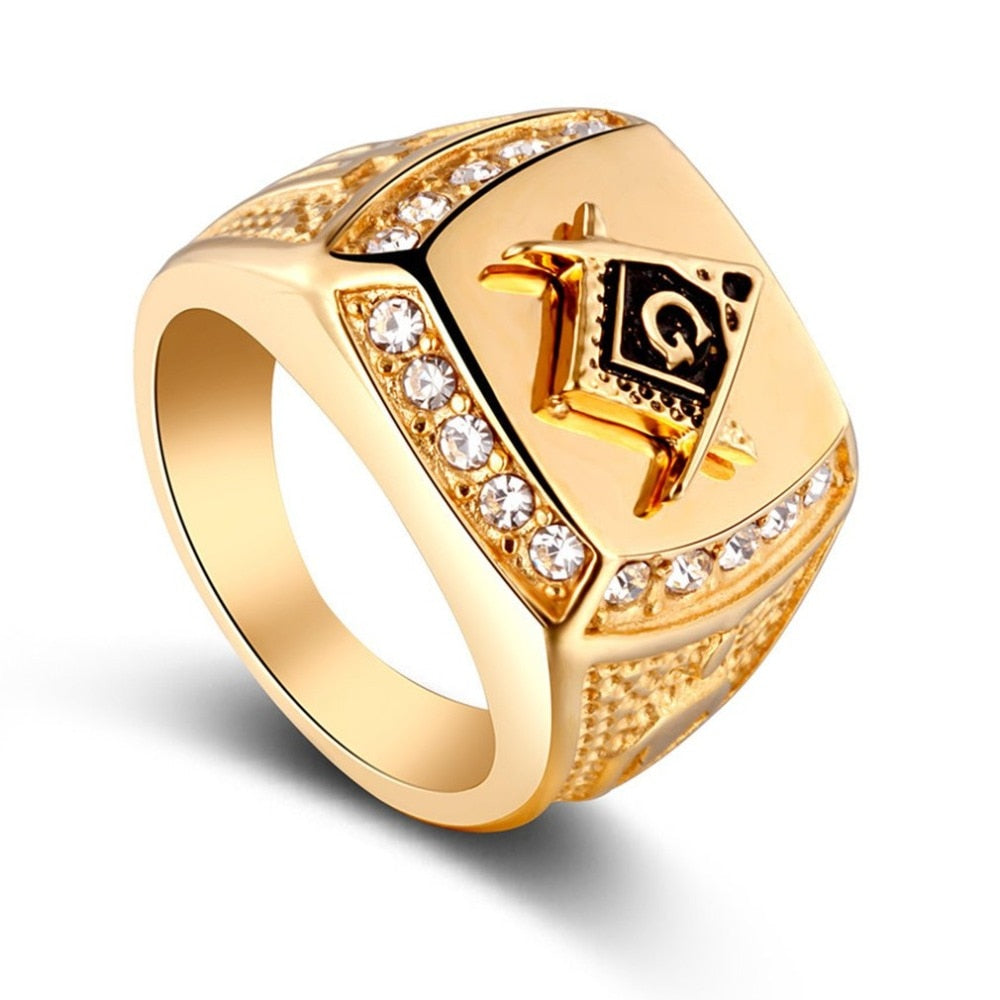 2019 Trendsmax Men's Ring Illuminati Pyramid Eye Symbol Gold Silver Color Stainless Steel Ring Jewelry for Men