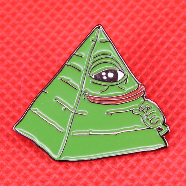 Kermit pyramid pin funny frog All Seeing Eye brooch Illuminati art jewelry Internet Meme pop culture pins cute animal badge