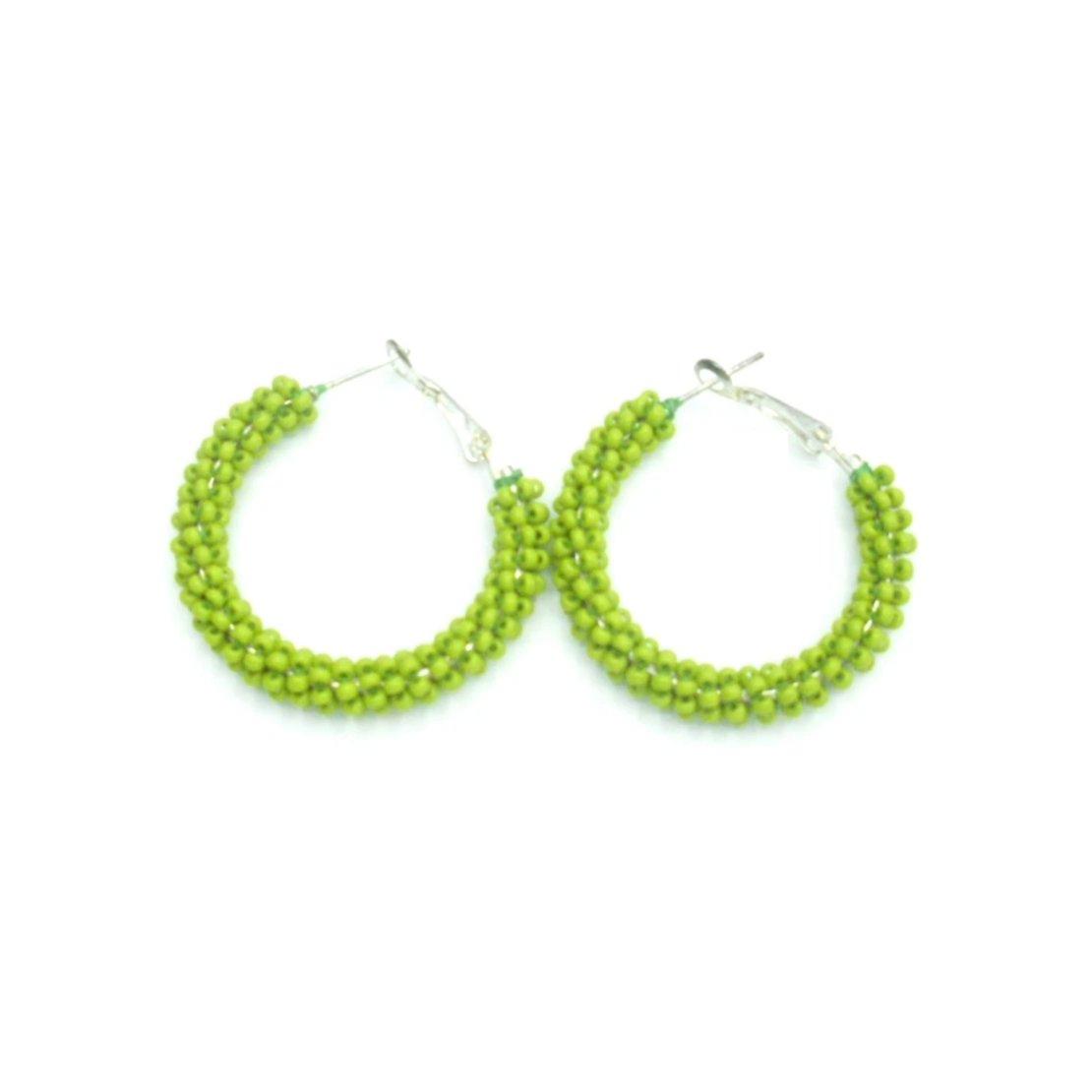 Anne: Green Apple Hoop Earrings Front