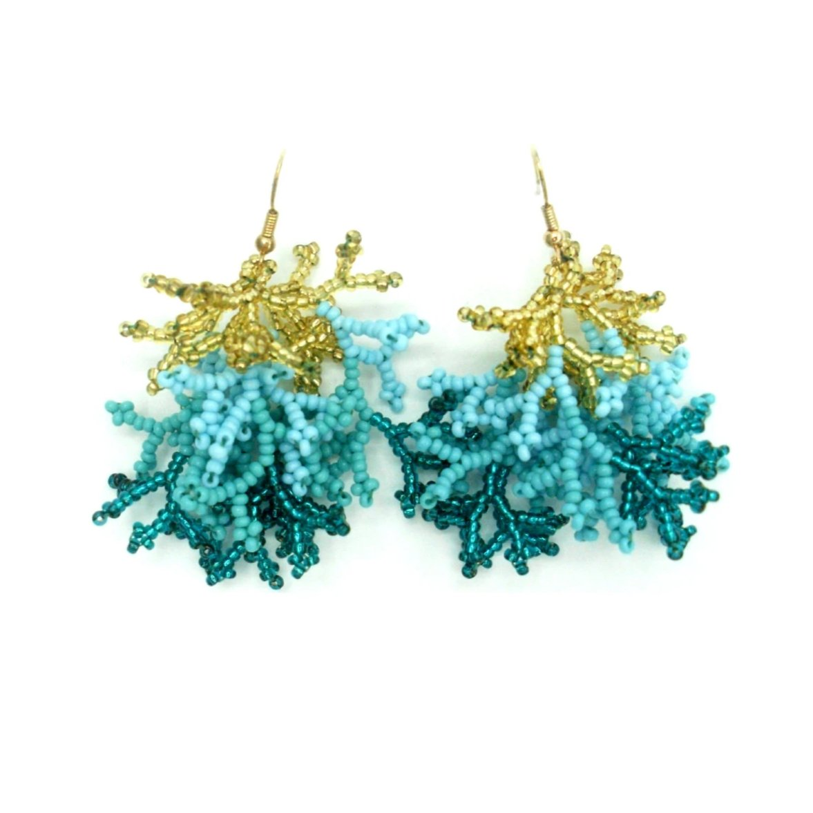 Emily: Aqua Gold Chaquirra Beaded Earrings - Putumayo Collection™