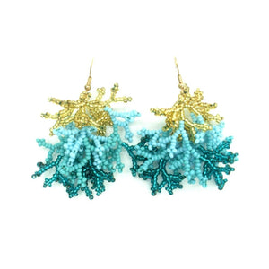 Emily Aqua Gold Chaquirra Beaded Earrings