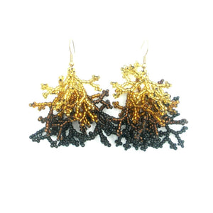 Emma: Black Gold Coral Earrings Front