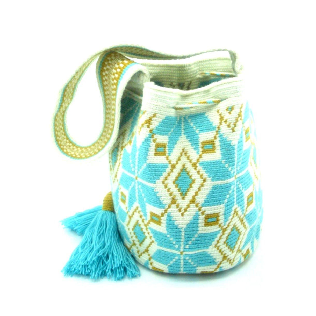 Jasmine Aqua Blue Wayuu Bag Side
