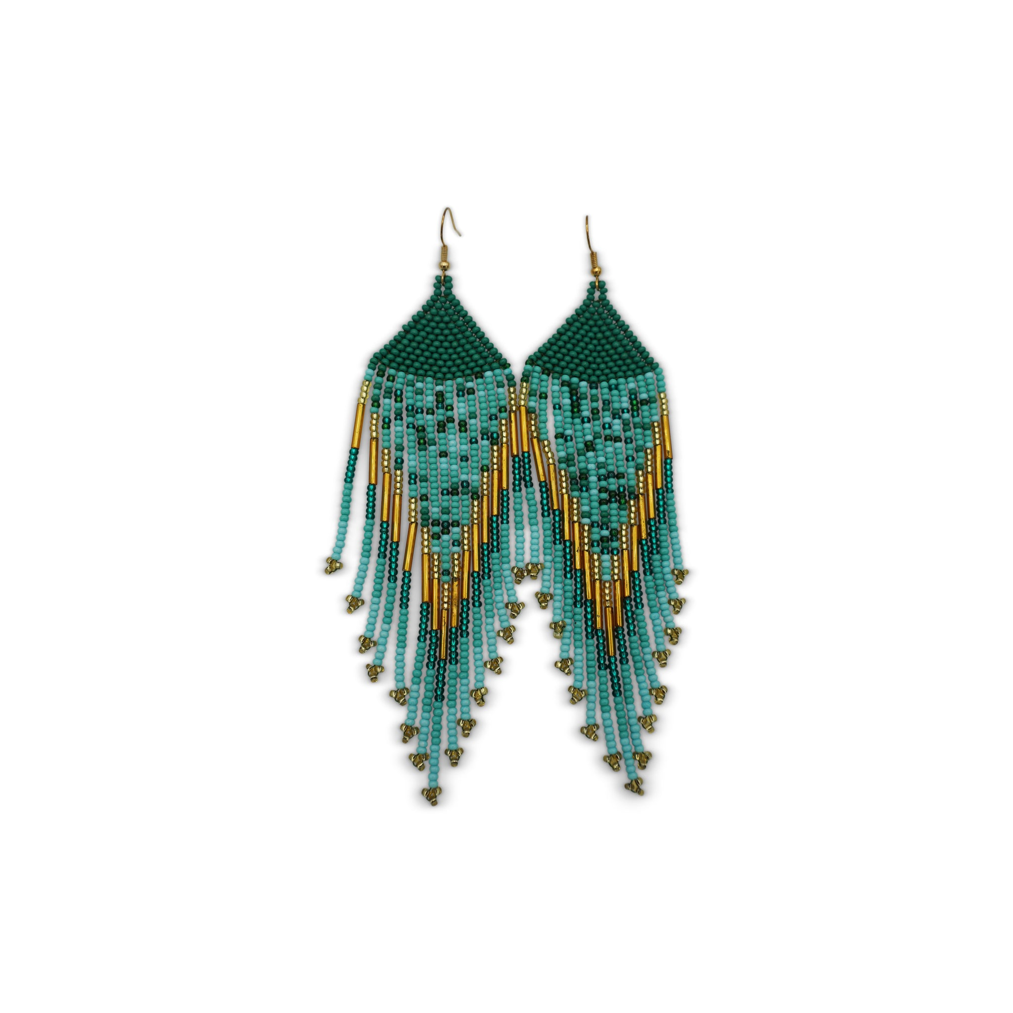 Luisiana: Green Gold Turquoise Chaquira Earrings - Kembra Collection™