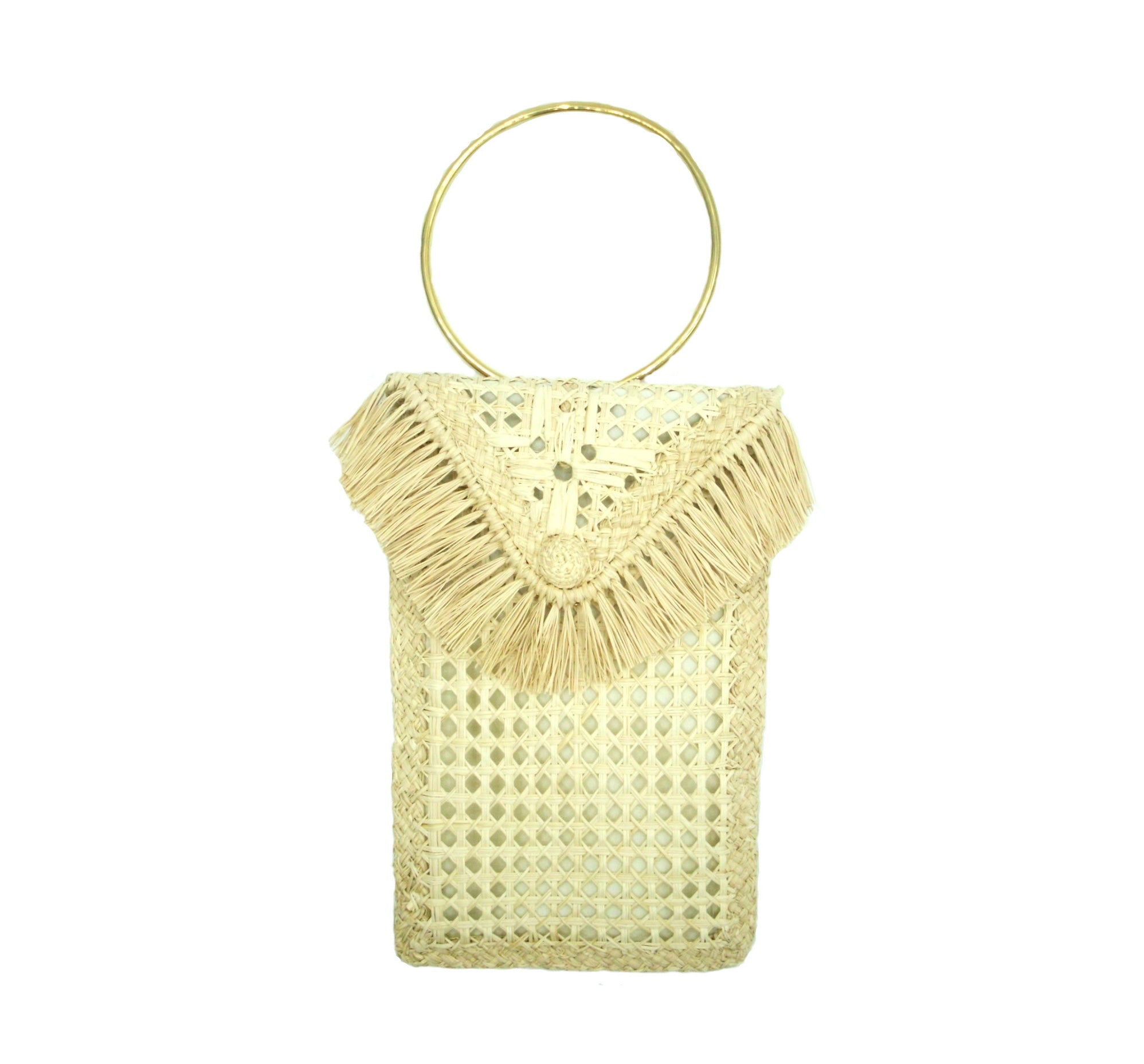 Margarita Iraca Palm Brass Ring Clutch