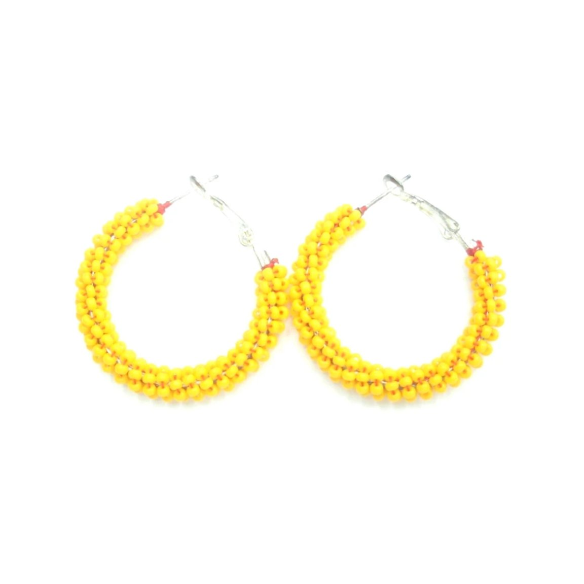 Melinda Yellow Beaded Hoop Earrings