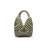 Meredith: Black Pattern Natural Fiber Tote - Tetera Collection™