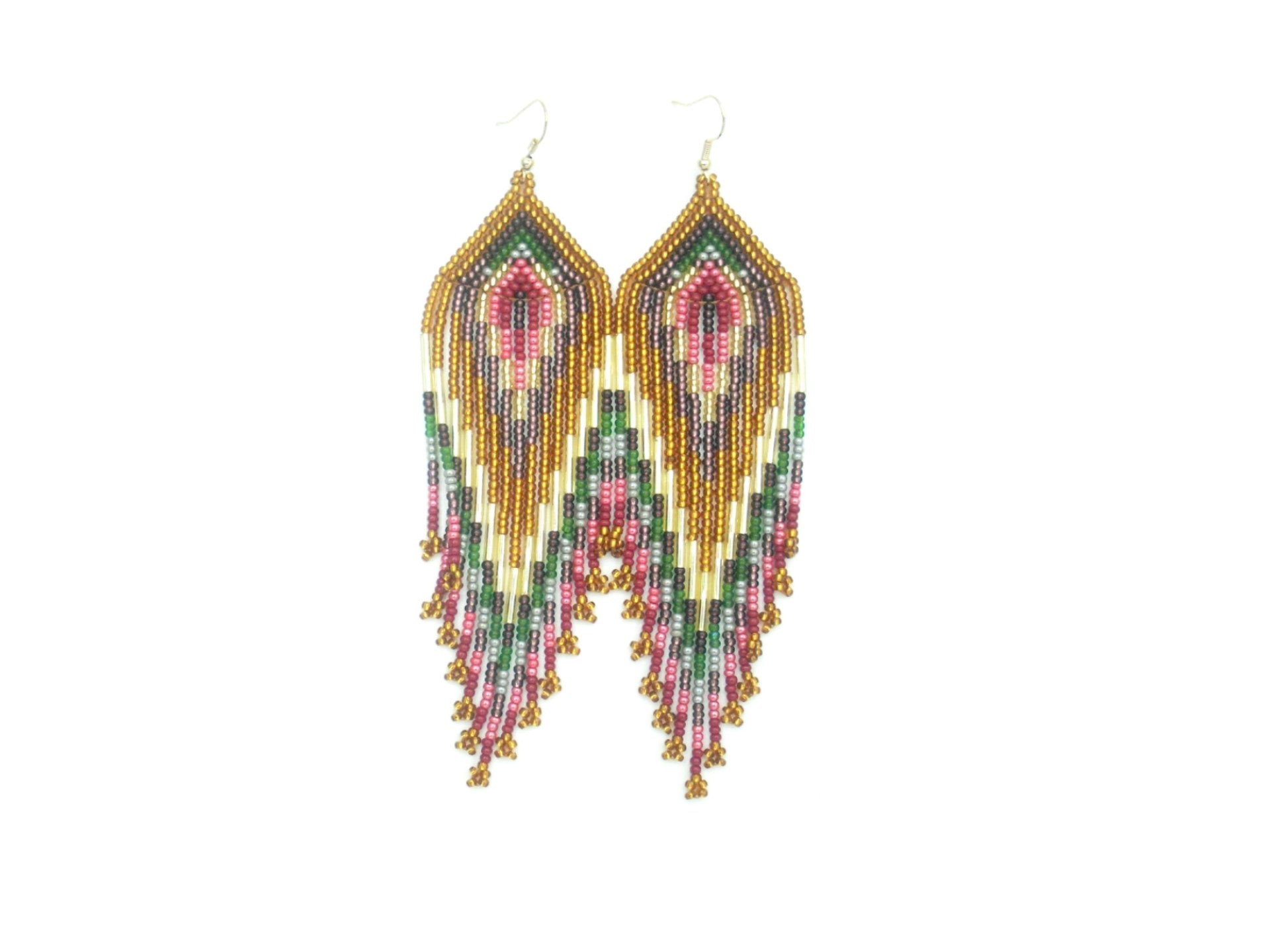 Priscilla: Brown Burnt Orange Gold Cranberry Earrings Front