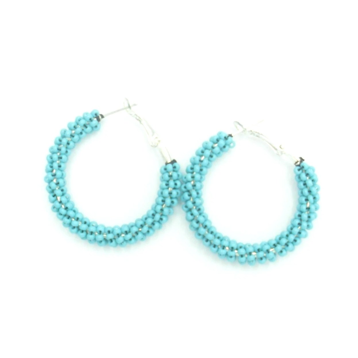 Renata Turquose Hoop Beaded Earrings