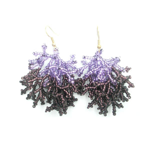 Stephanie Purple Lavender Chaquira Beaded Earring