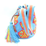 Teri Fuchsia Blue Yellow Wayuu Bag Straps