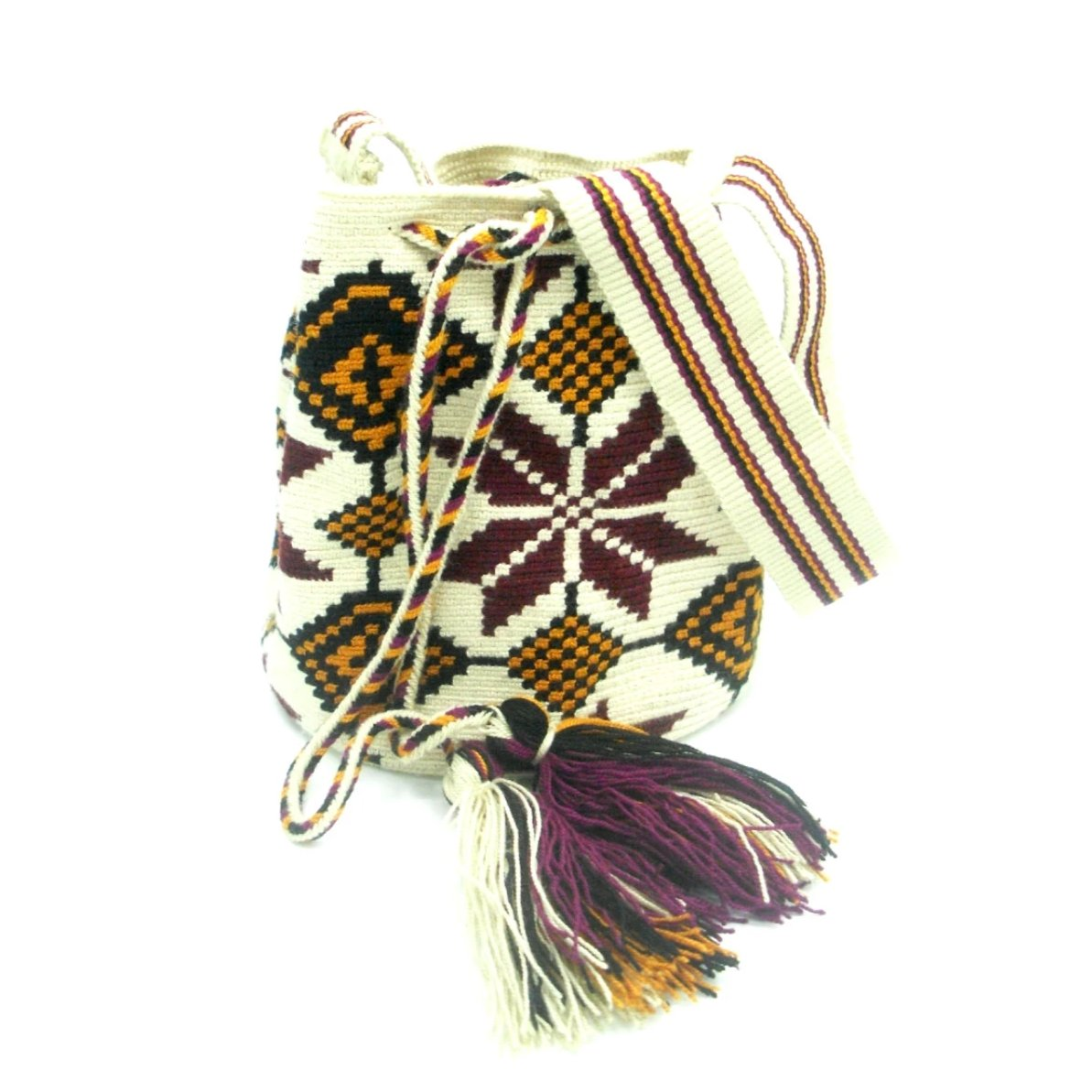 Virginia Maroon Orange White Wayuu Bag Tassels