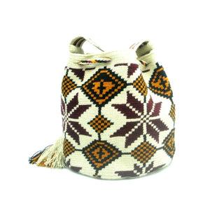 Virginia Maroon Orange White Wayuu Bag Side