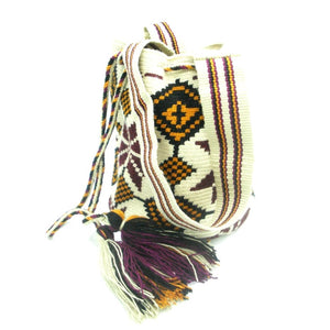 Virginia Maroon Orange White Wayuu Bag Straps