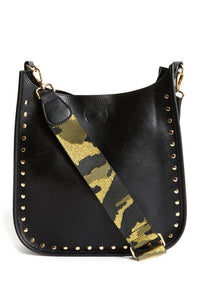 "Black Vegan Messenger w/ Studs & Camo 2"" Adjustable Strap"