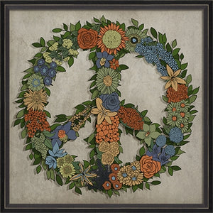 Framed Floral Peace Sign (Various Color Options)