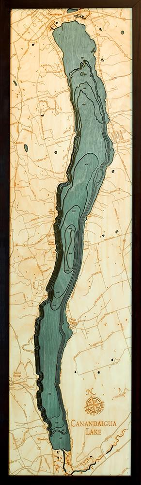 New York: Nautical Wood Map: Canadaigua Lake