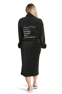 Luxe Plush Robe Black - Fluent French